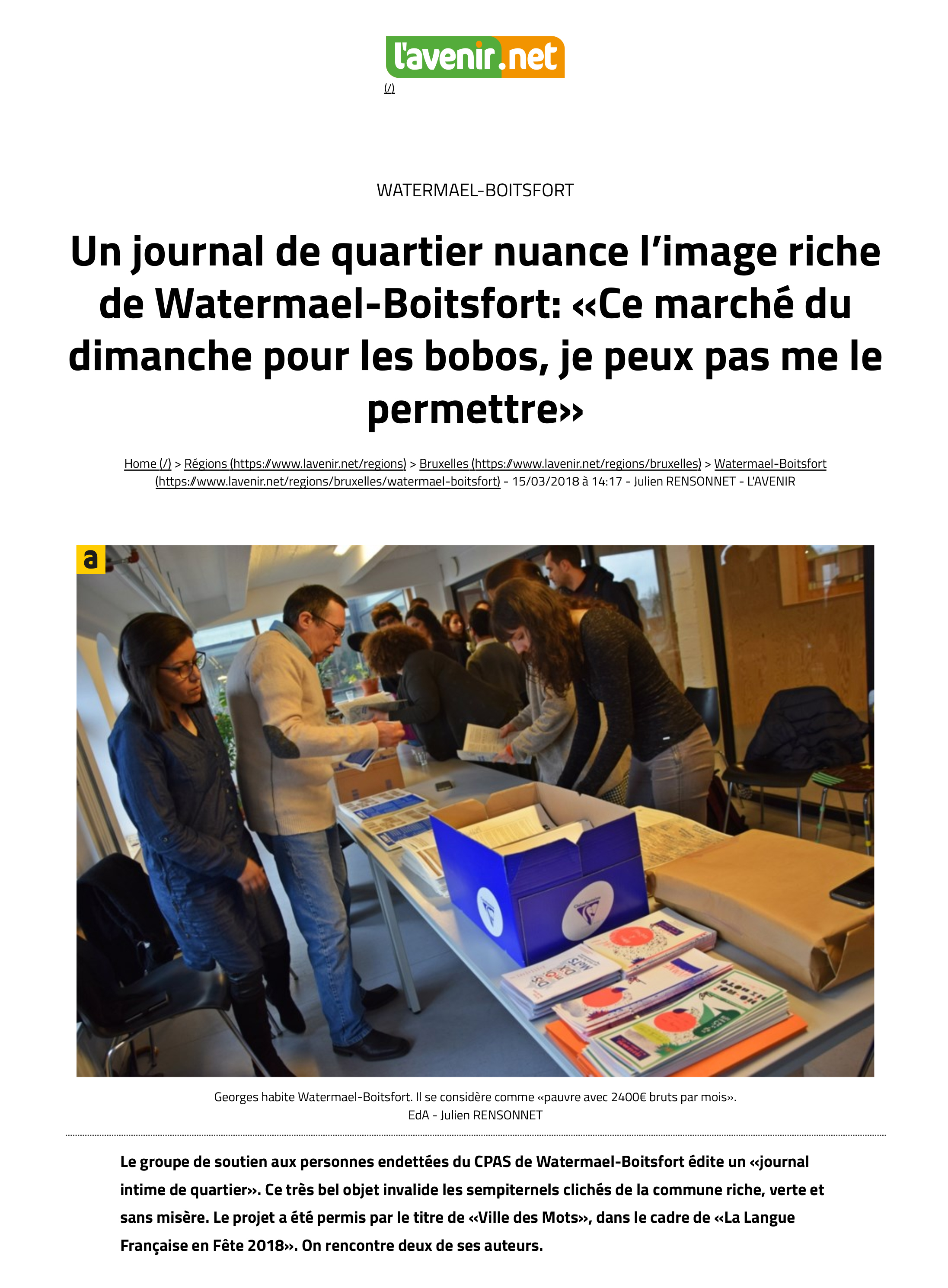 Un journal de quartier nuance l'image riche de Watermael-Boits